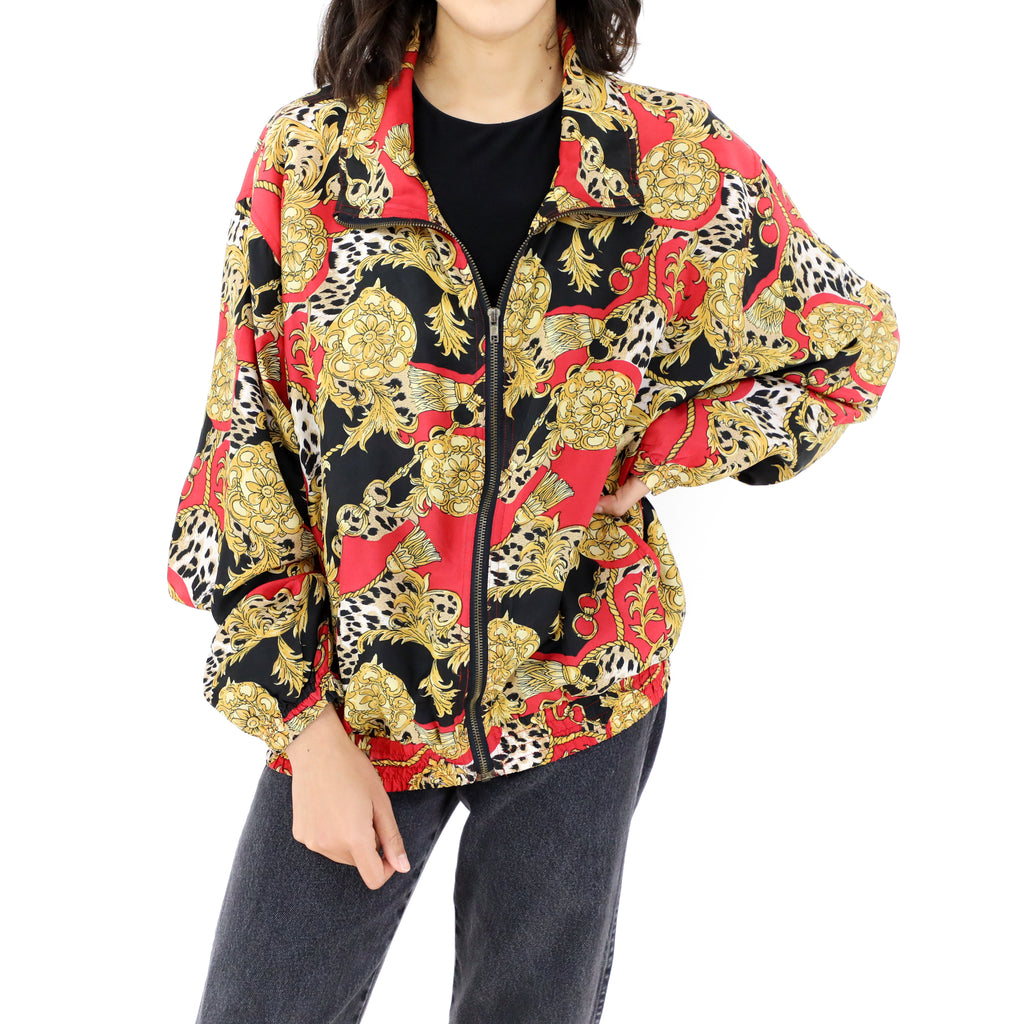 Red Gold & Black Bomber Jacket