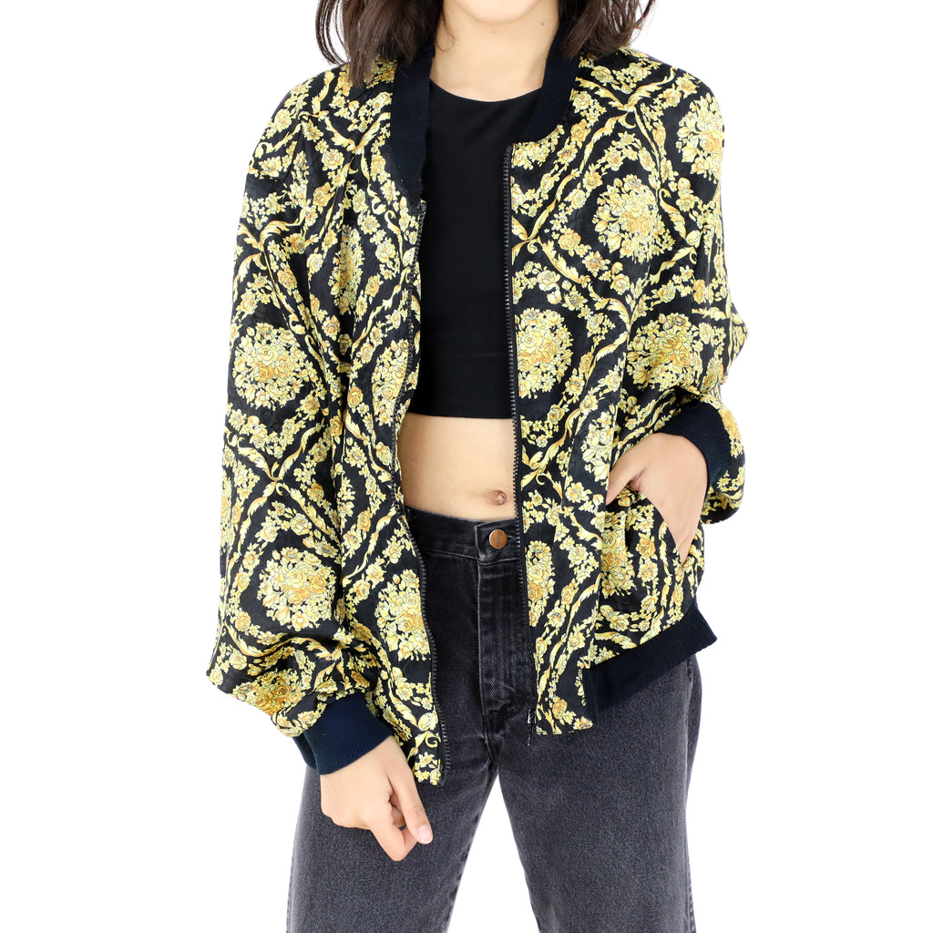 Gold Roses Bomber Jacket