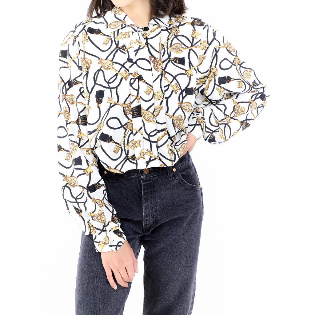 Golden Keys White Blouse