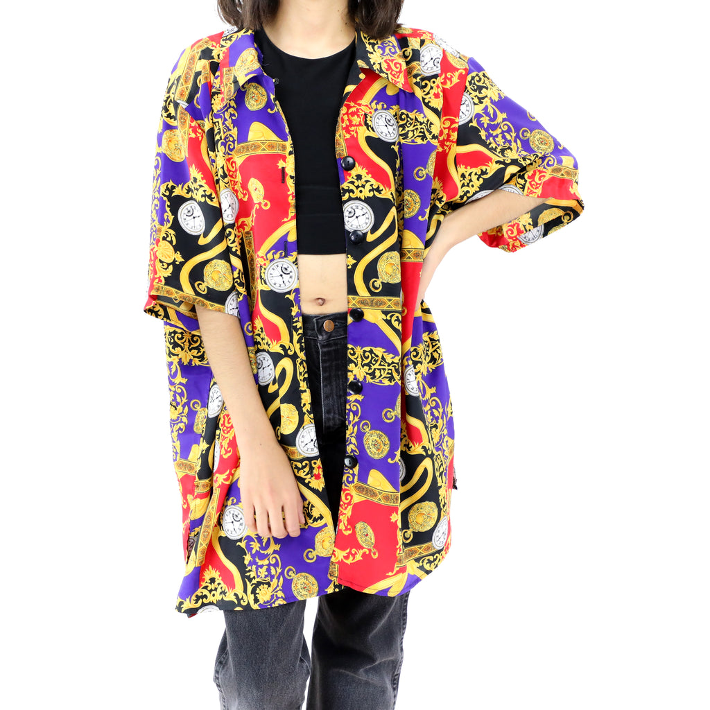 Oversized Red Purple & Gold Blouse/Shirt