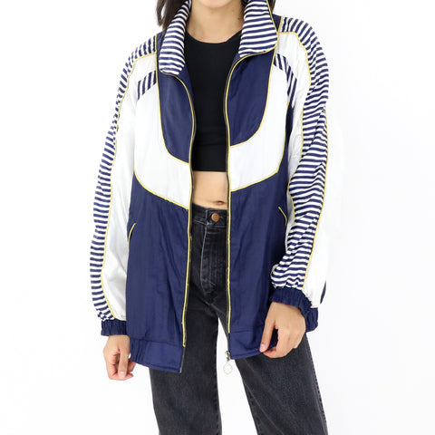 Navy Blue & White Bomber Jacket