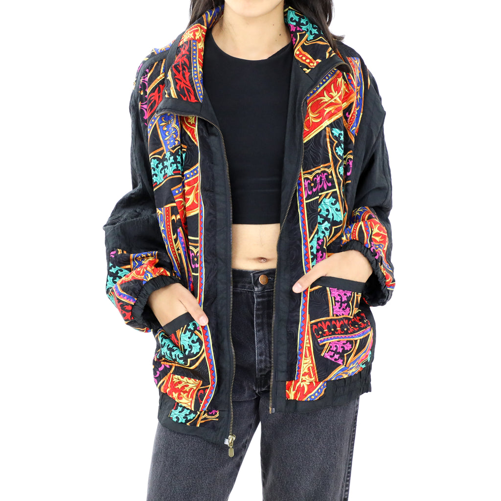 Black with Multicolored Details Bomber