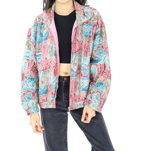 Pink & Blue Bomber Jacket