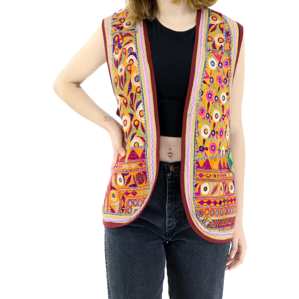 Orange Mirror Work Hippie 70´s Vest