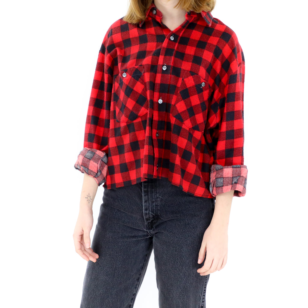 Red Plaid Cropped Shirt