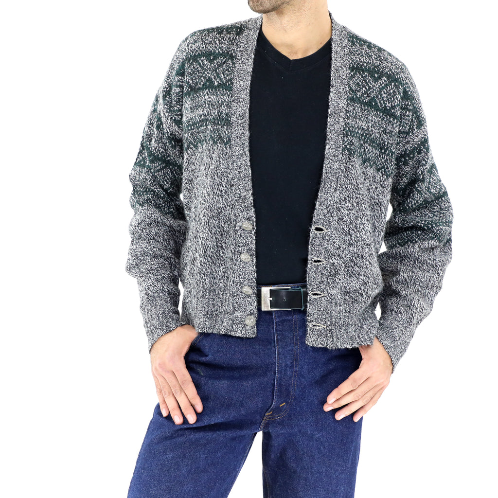 Gray Knitted Open Front Sweater