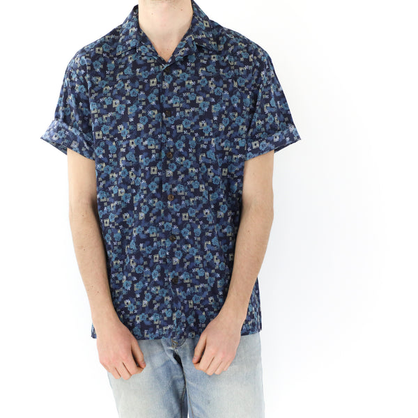 Blue Tropical Flowers Shirt