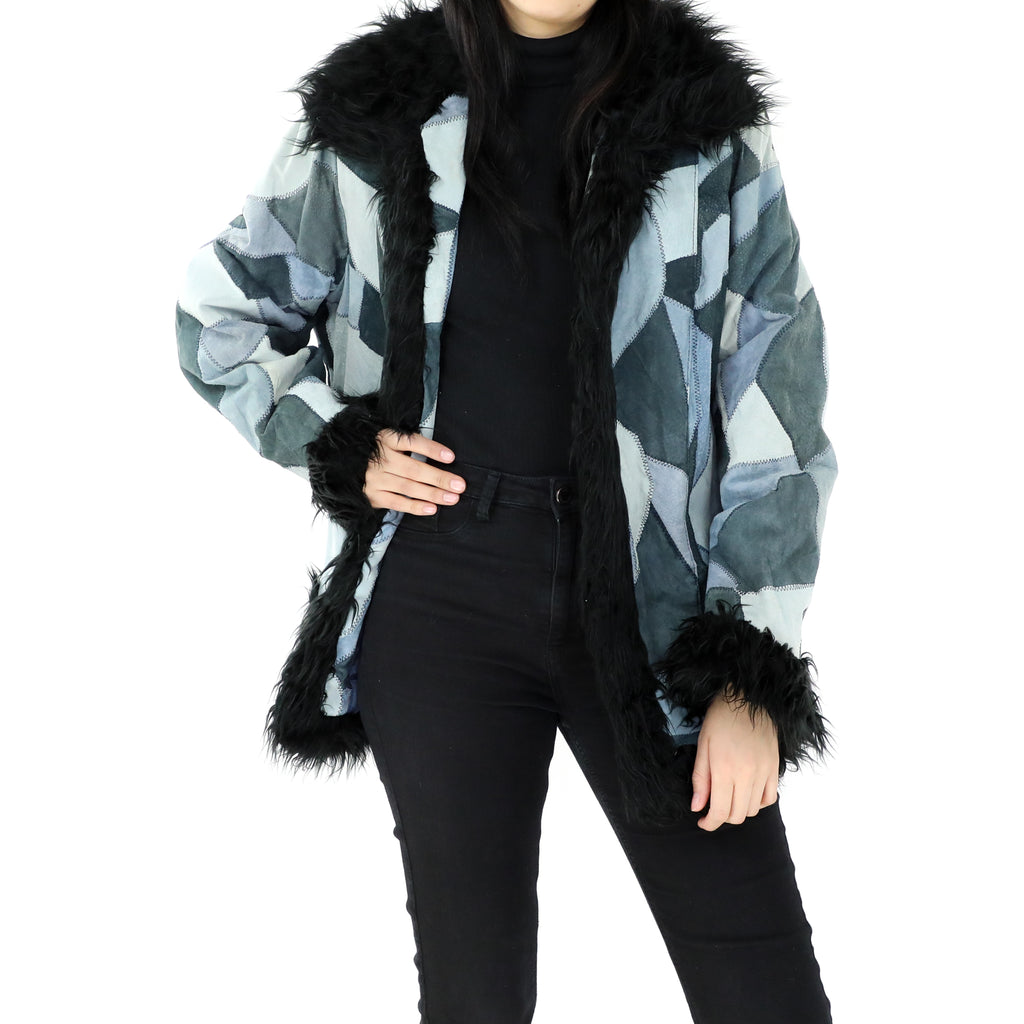 Patchwork Suede Faux Fur Coat