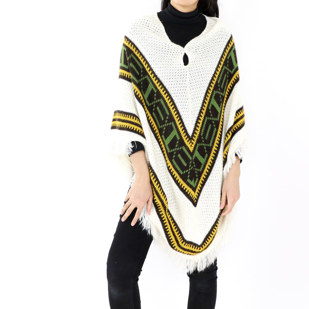 White & Green Poncho