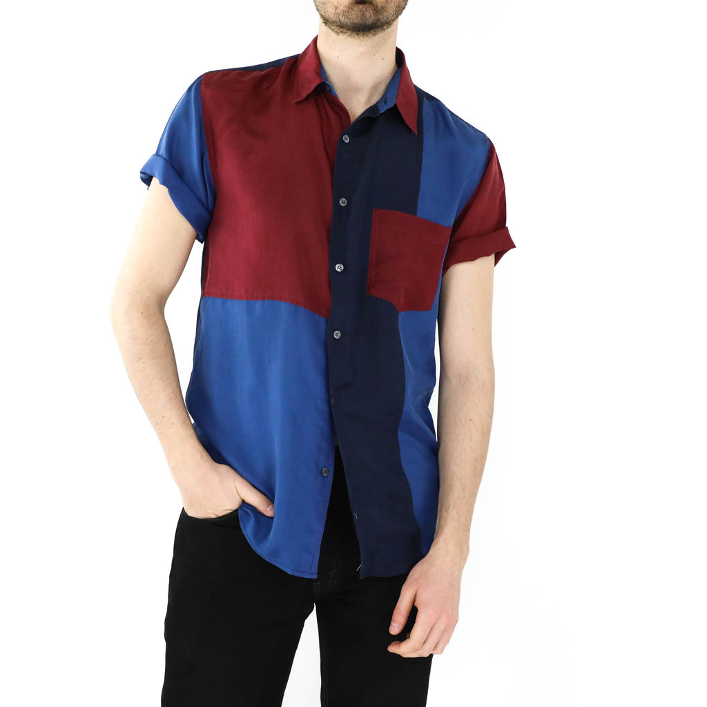 Blue & Red Silk Shirt