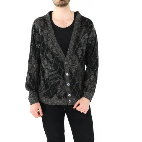 Black Rhombus Open Front Sweater
