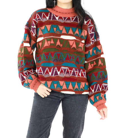 Melon, Burgundy & Green Triangles Sweater