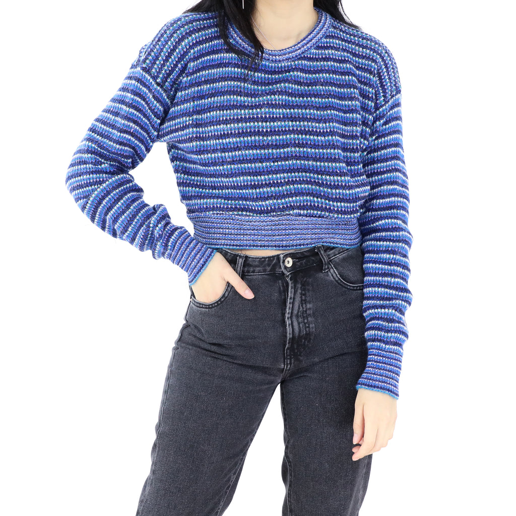 Blue Stripes Cropped Sweater