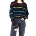 Black with Multicolor Stripes Cropped Sweater