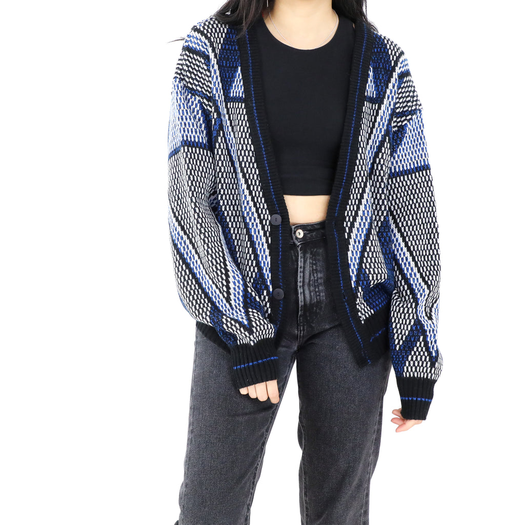 Black & Blue Open Front Sweater