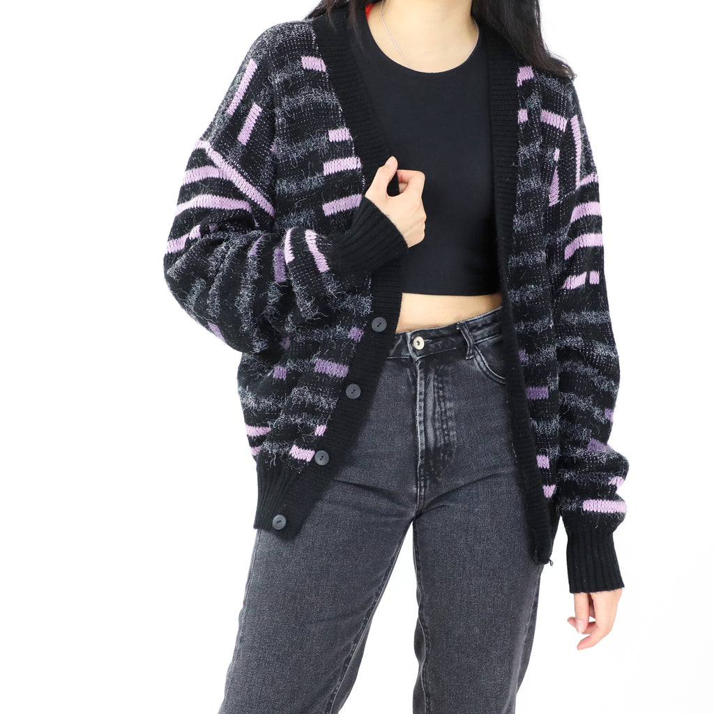 Black & Pale Purple Open Front Sweater
