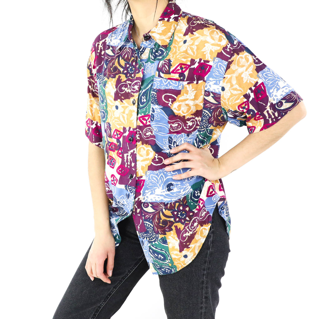 Burgundy & Blue Abstract Print Blouse