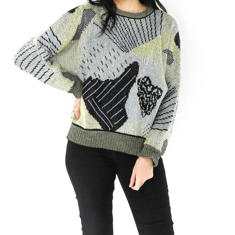 Olive Green Abstract Sweater