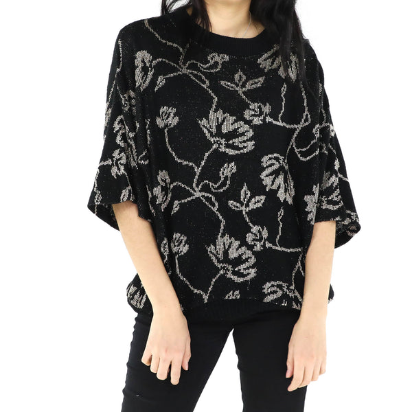 Black & Gold Floral Sweater