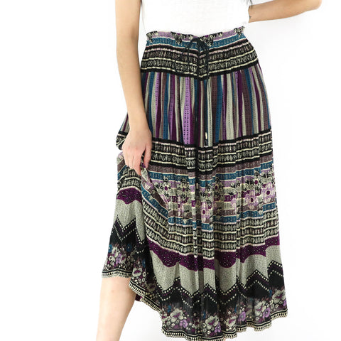 Burgundy & Olive Green Boho Skirt