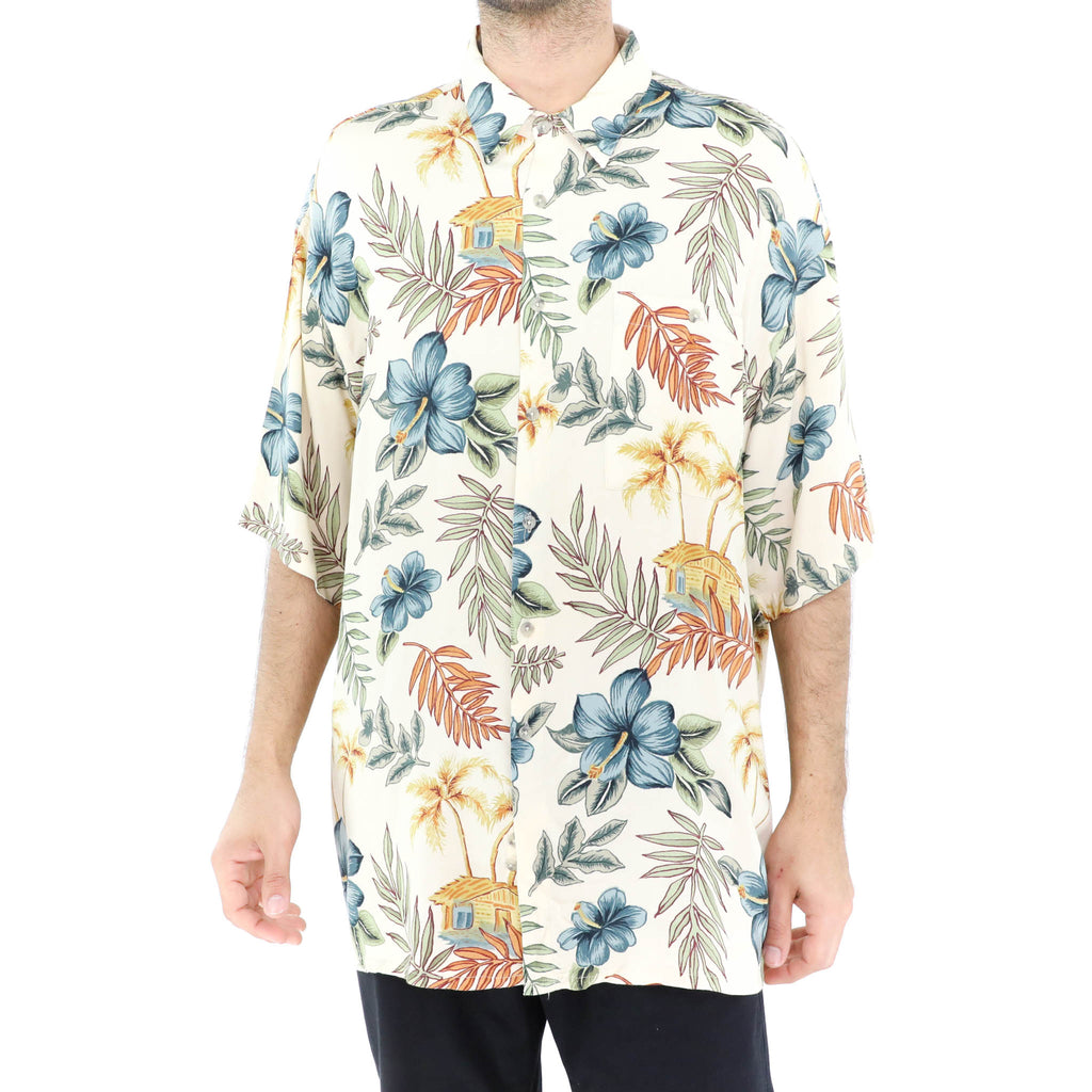 Blue Amaryllis on Beige Hawaiian Shirt