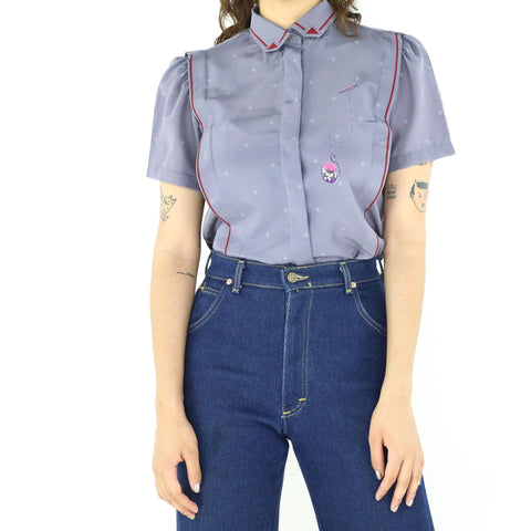 Violet Pocket Watch Blouse