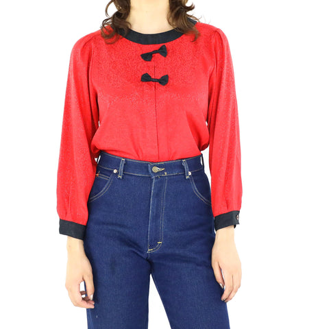 Apple Red & Black Blouse