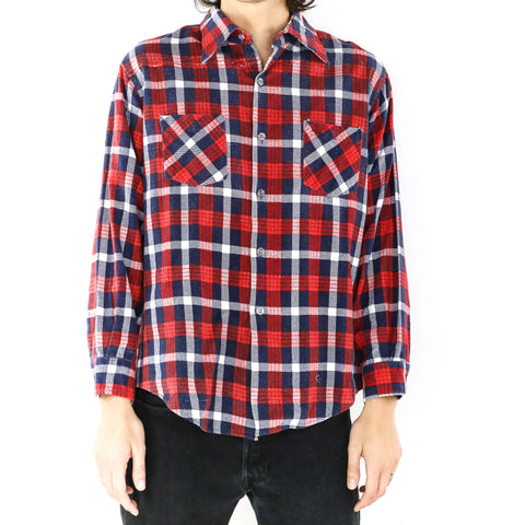 Candy Red Navy Plaid Shirt