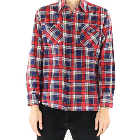 White Red & Blue Plaid Flannel