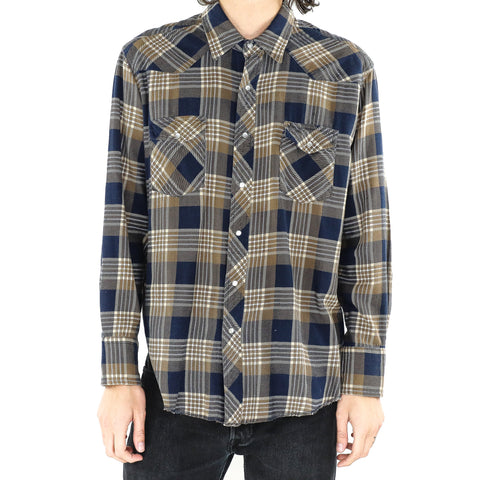 Khaki & Dark Blue Plaid Shirt