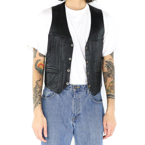 Black Plain Leather Vest