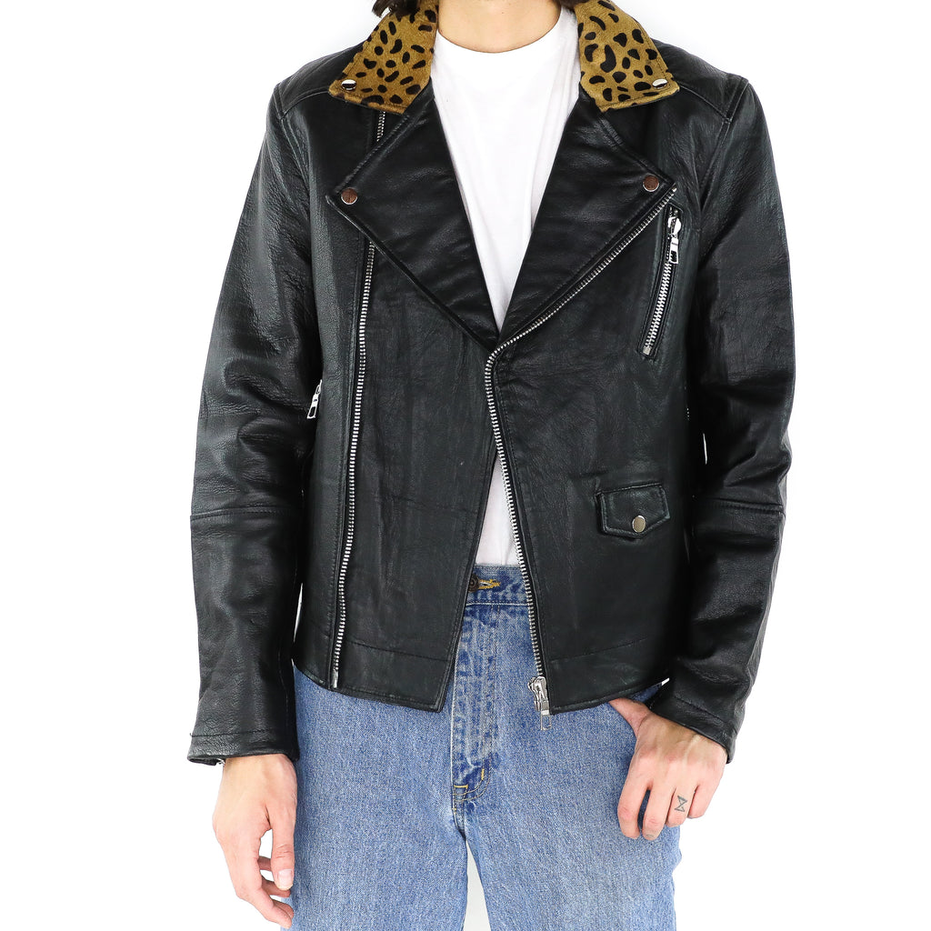 Black Jacket with Animal Print Details