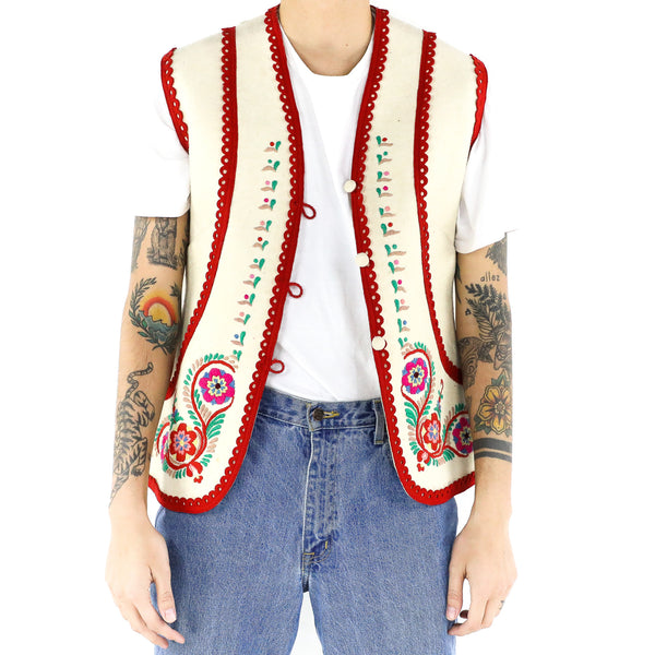 Crimson Cream Embroidered Vest