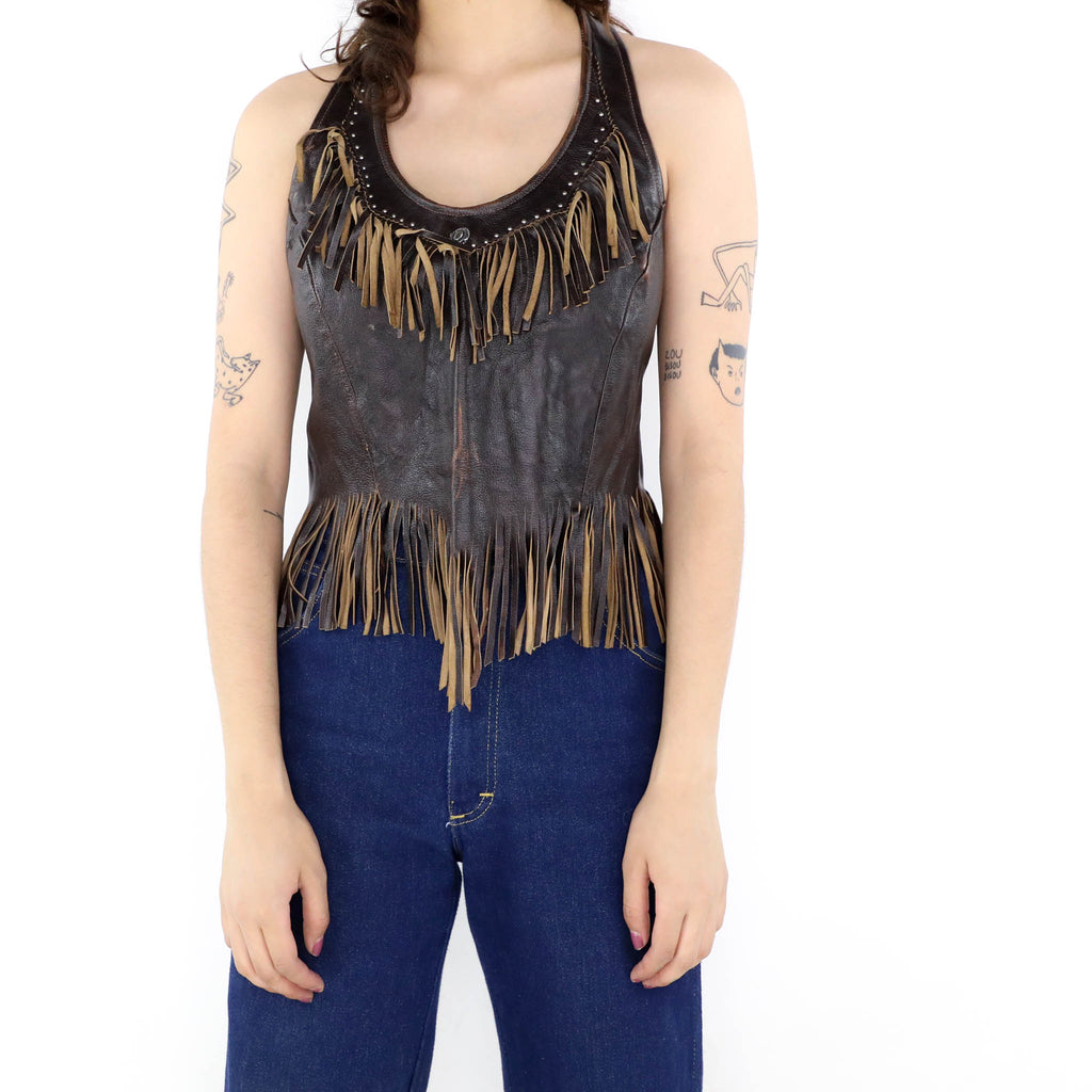 Fringe Leather Top