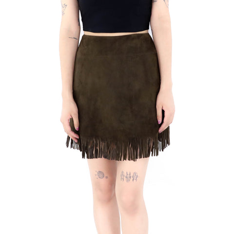 Raw Umber Fringe Skirt