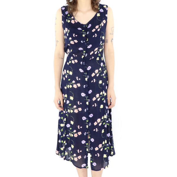 Midnight Blue Floral Dress