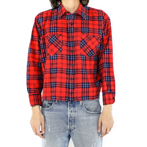 Midnight Blue Scarlet Plaid Flannel