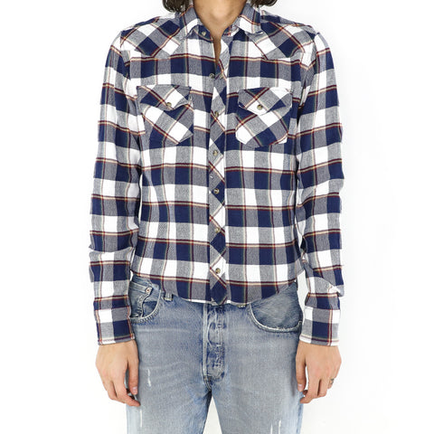Navy White Plaid Flannel