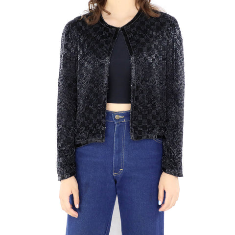 Black Glitter Checkers Blazer