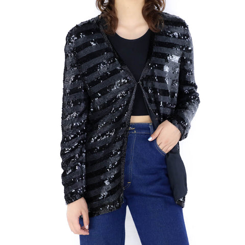 Black Striped Sequin Bolero