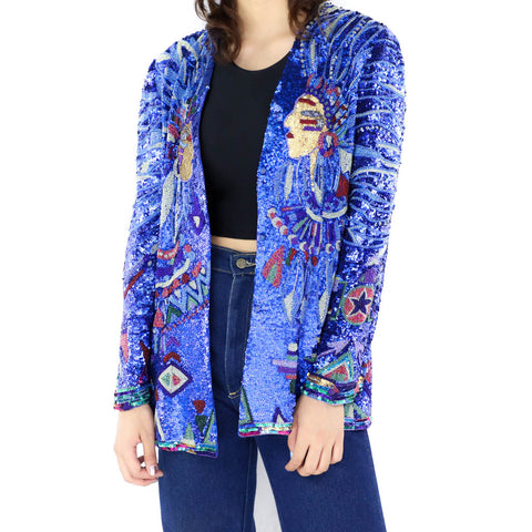 Neon Blue Sequin Jacket