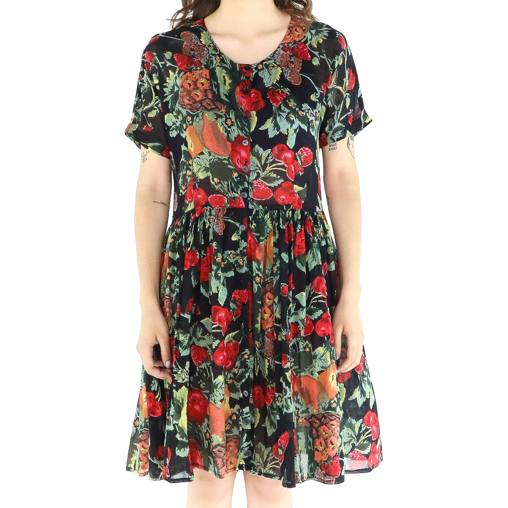 Black & Fruts A-line Pleated Dress
