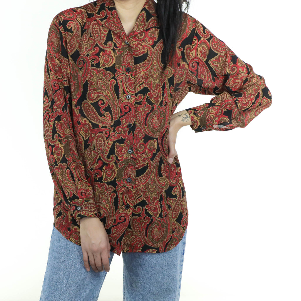 Red & Brown Paisley Blouse