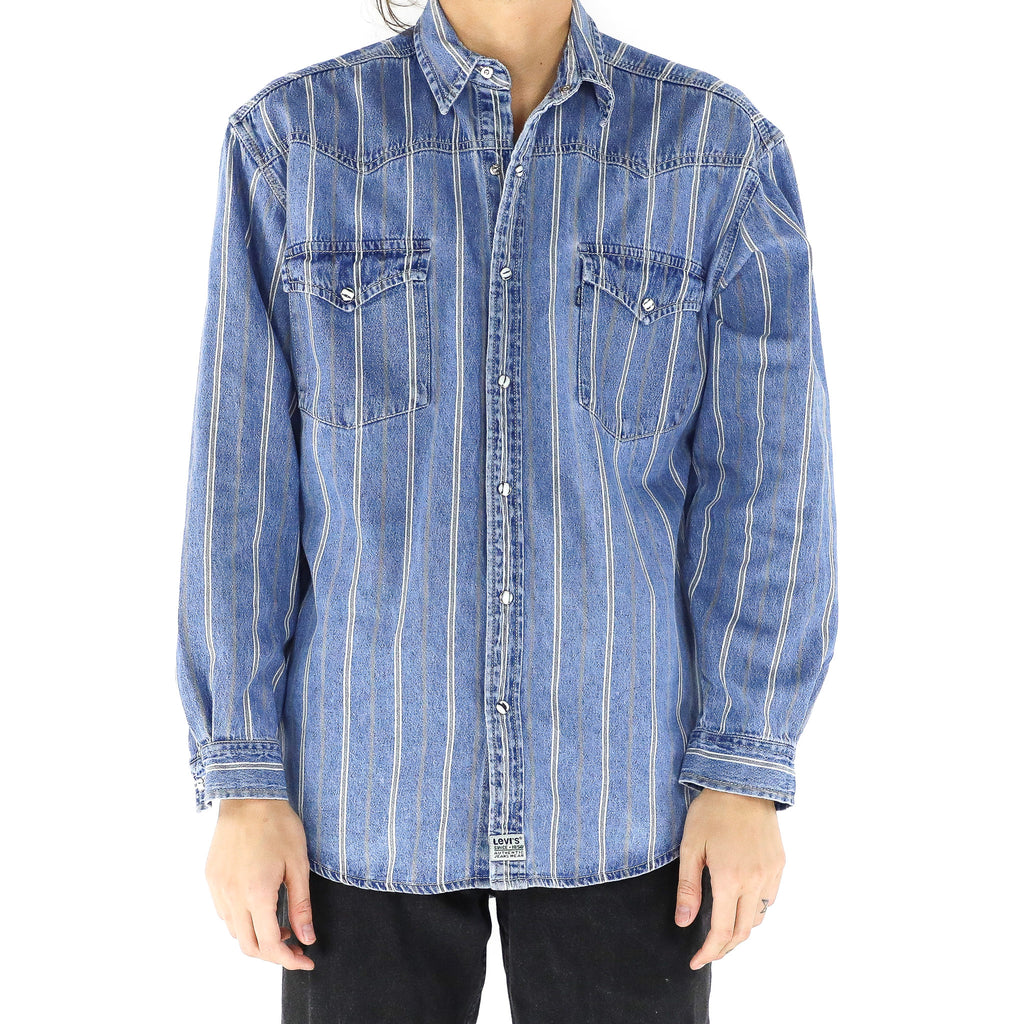 Hairline Stripes Denim Shirt