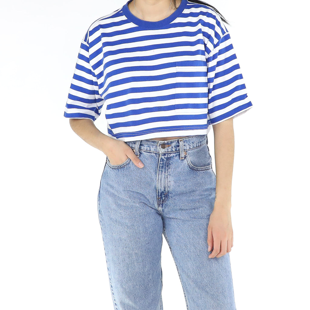 Persian Blue & White Striped Top
