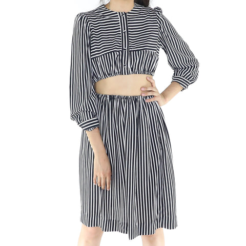 Black & White Striped Two Piece Set