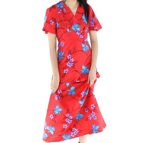 Red Cocktail Dress With Flowers