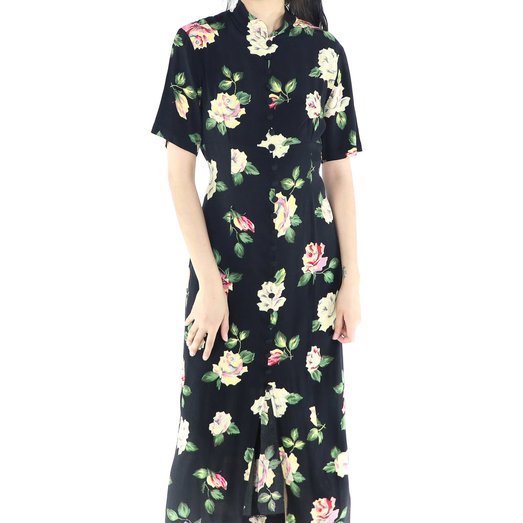 Black Floral Print Long Dress