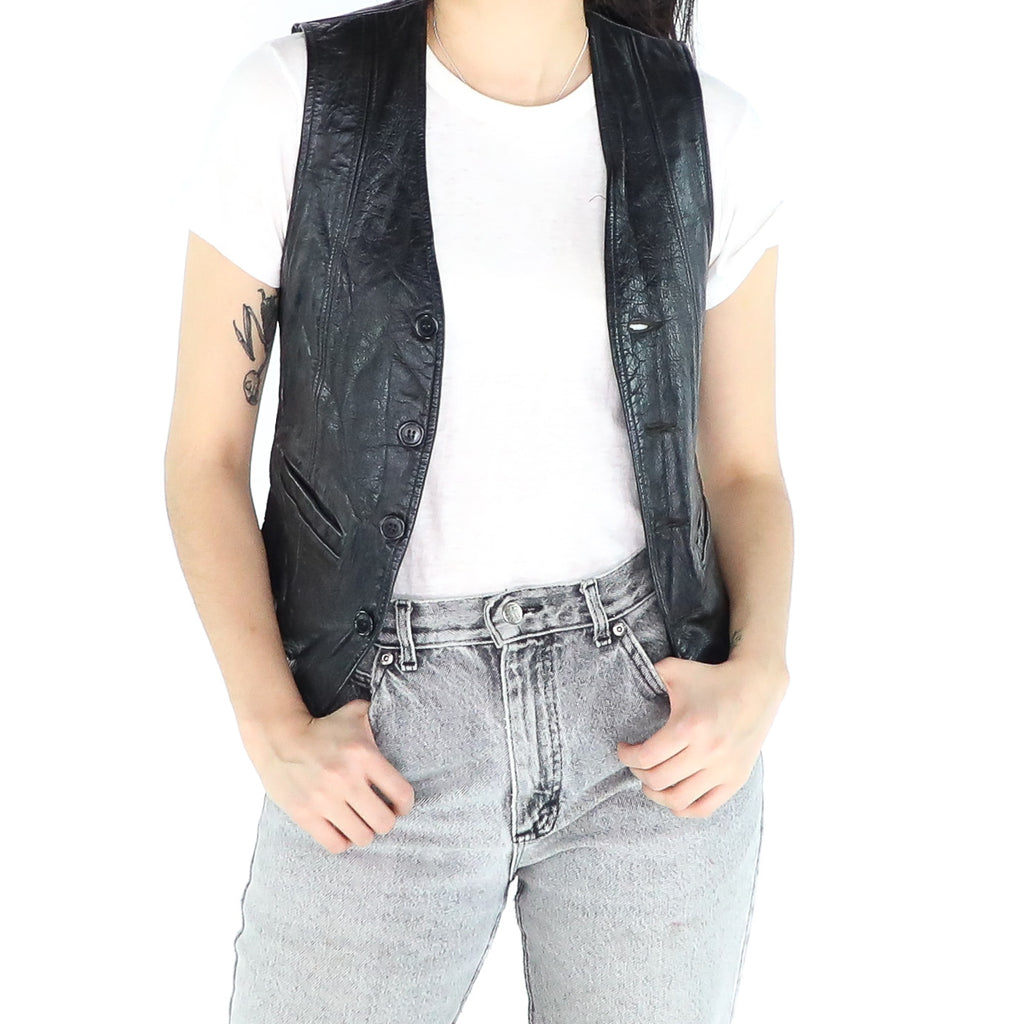 Two Pockets Leather Vest