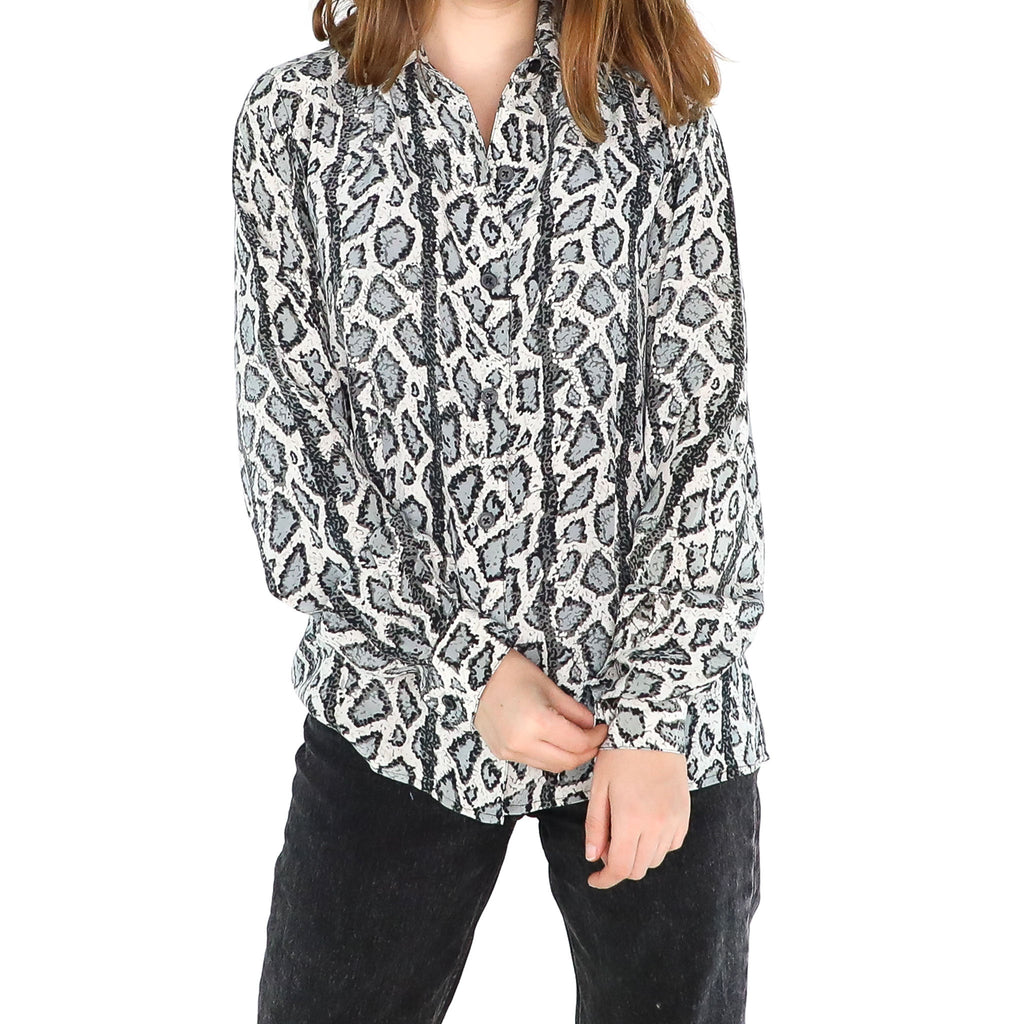Gray Animal Print Blouse